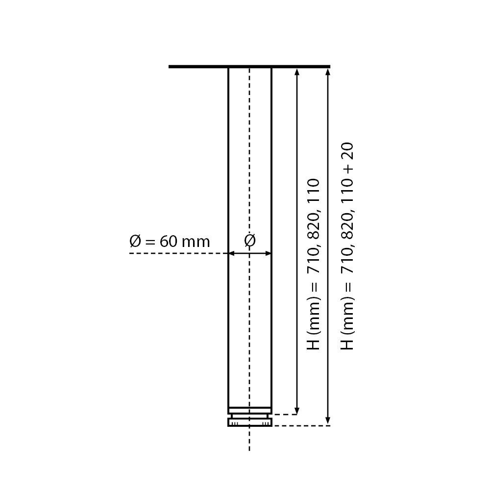 Set de 4 unidades Dise/ño: Aluminio Altura regulable 710 mm Juego de patas extensibles de mesa 20 mm Sossai/® Est/ándar STBAL
