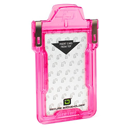 Identity Stronghold - Secure RFID Badge Holder for 1 Card - Heavy Duty Hard Plastic ID Badge Holder - FIPS 201 Approved RFID Blocking Security - Molded and Assembled in The USA - Pink