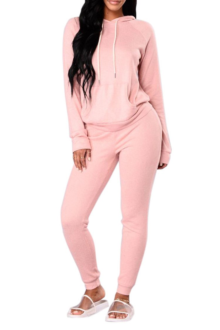 Selowin Women Casual Solid Pullover Hoodies and Jogger Sweatpants Two Piece Outfits Pink XL