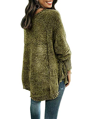 510795e531 Womens Pullover Sweaters Plus Size Cable Knit Crew Neck Long Sleeve Split  Side Tie Knot Fall