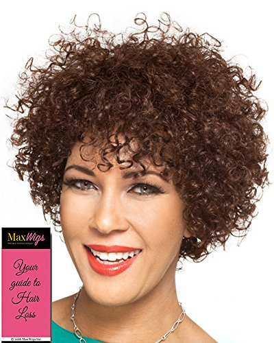 Donna Wig Color 1 Black - Foxy Silver Wigs Short Human Hair Curly Ringlets Heat Friendly African American Womens Lightweight Average Cap Bundle with MaxWigs Hairloss Booklet