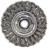 Weiler Dualife Standard Wire Wheel Brush, Threaded Hole, Steel, Partial Twist Knotted, 6'' Diameter, 0.023'' Wire Diameter, 5/8-11'' Arbor, 1-3/8'' Bristle Length, 1/2'' Brush Face Width, 9000 rpm