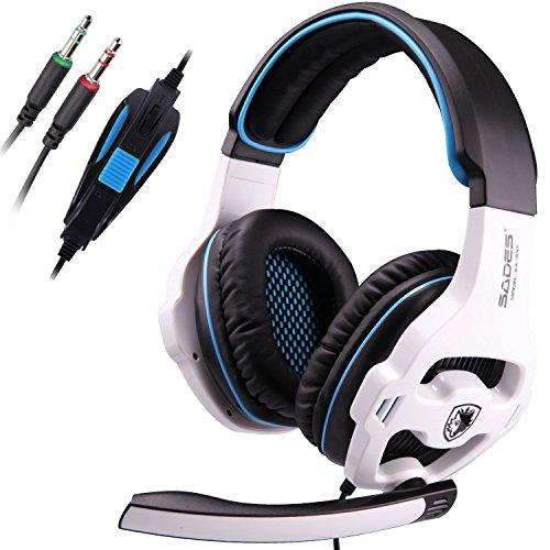 SADES SA810 3,5-mm-Stereo-Surround-Sound Gaming Headset Stereo-PC-Spiel-Kopfhörer-Stirnband -Kopfhörer mit Mikrofon für PC / Laptop Over-the-Ear-Lautstärkeregler (weiß)