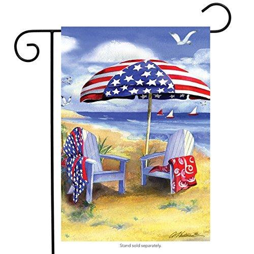 Briarwood Lane Patriotic Beach Summer Garden Flag Adirondack Chairs Nautical 12.5 x 18