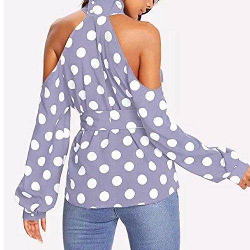 Blouses Tops Chemisier Sexy Femme T a Pois Crop paule Longue Imprim Manche Violet Tops Shirt Bringbring af4qwCO