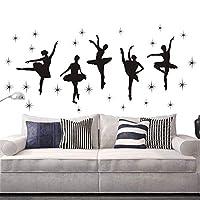 Bedroom Decor Ballet Dance Ballerinas Stars Vinyl Wall Decals Art Stickers Dancing Ballet Nursery Kids Girls Room Decor Girls Room Wall Sticker KW-109