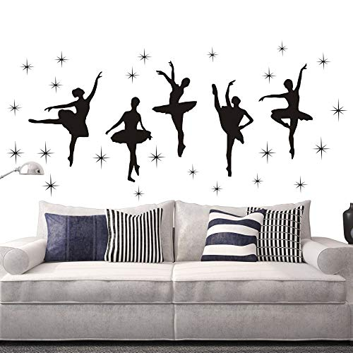 Bedroom Decor Ballet Dance Ballerinas Stars Vinyl Wall Decals Art Stickers Dancing Ballet Nursery Kids Girls Room Decor Girls Room Wall Sticker KW-109 (Black)