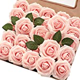 Floroom Artificial Flowers 50pcs Real Looking Blush