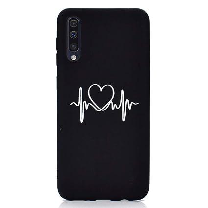 Rongecr Funda Negro con Samsung Galaxy A50, Carcasa Silicona TPU Suave Ultra Delgado Flexible Antideslizante Patrón Noble Samsung Galaxy A50 Soft TPU ...