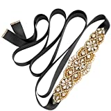 Yanstar Black Sash Crystal Applique Wedding Bridal Belts In Gold With Pearls Beaded On Wedding Prom Dress-7.7In2In