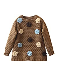 Mud Kingdom Little Girls Sweaters Long Flower Pullover