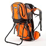 Premium Baby Backpack Carrier with Removable Backpack - 2 in 1 for Hiking with Kids - Carry your Child Ergonomically (Orange/Grey)