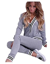 Jubileens Women's Deep V Neck Striped Pullovers Shirts/Joggers Pants Tracksuits Set