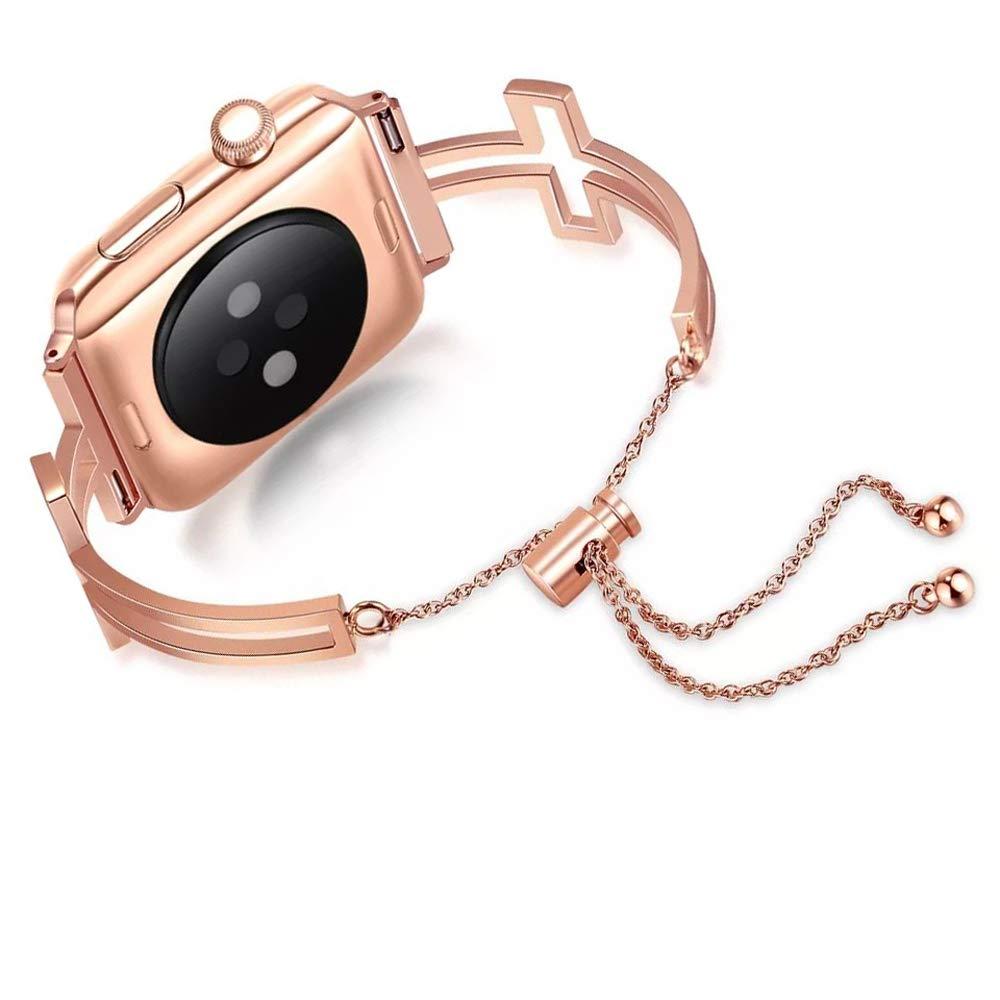 KoudHug Apple Watchバンド対応 38mm 42mm Series 3 2 1 and Series 4 40mm 44mm iWatch カフ ジュエリー ブレスレット リストバンド 女性用 ギフトボックス付き 38mm/40mm ローズゴールド B07K9NB86R