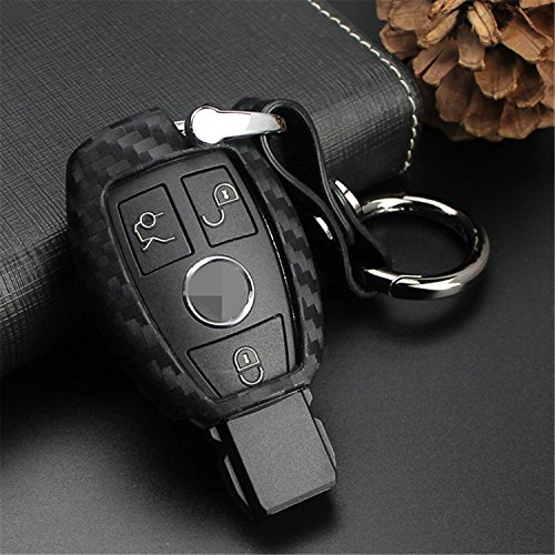 M.JVisun Soft Silicone Rubber Carbon Fiber Texture Cover Protector For Mercedes-Benz Fob, Car Key Fob Case For Mercedes A C E S Class GLK CLA GLA GLC GLE CLS SLK AMG E260l C200l - Black-Round Keychain