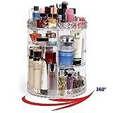 YAH DIY 360 Degree Rotation Transparent Acrylic Cosmetics Storage Box Diamond Style Fashion Multi-Function Detachable Makeup Tools Beauty Jewelry Display Organizer