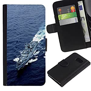 KLONGSHOP / Tirón de la caja Cartera de cuero con ranuras para tarjetas - Nature Army USA Navy Destroyer;; - Samsung Galaxy S6 SM-G920
