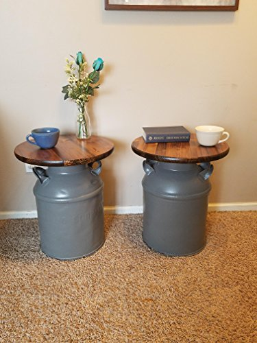 Set of Vintage Milk Can End Tables, Gray