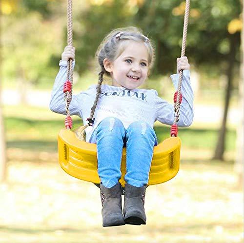 (Beebeerun Kids Swing Swing Seat Chair Swing, Rigid Hard Kids Seat, Child Swing Indoor/Outdoor Play Swing Seat Children Backyard Swing with Ropes & Chains (Lemon Yellow))