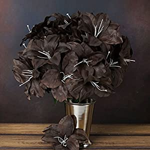 Efavormart 60 Easter Artificial Lilies for DIY Wedding Bouquets Centerpieces Arrangements Party Home Wholesale - Chocolate Brown 37