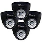 Night Owl Security CAM-4PK-DM624-BA 4-Pack Hi-Res 600 TVL Indoor Security Dome Cameras with 50-Feet of Night Vision and Audio (Black)