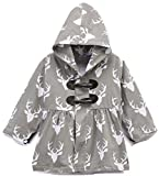 BluNight Collection Little Girl Kids Long Sleeve Reindeer Print Cotton Girls Jacket Coat Grey 2T XS (900110JACKET)
