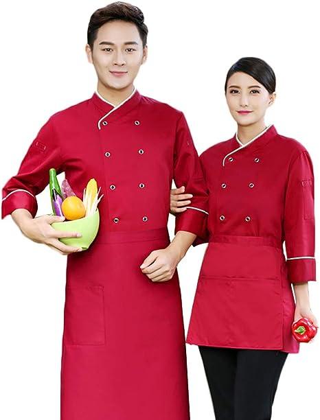 WYCDA Camisa de Cocinero Cocina Uniforme Manga Larga Colores Múltiples Camisa de Manga Larga del Chef Rojo Azul Blanco Negro Unisex,Rojo,L: Amazon.es: Hogar