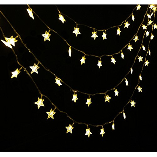 CuteKing 24ft 50 Small Stars LED String Light with Timing Program, Battery Powered String Lights with 8 Light Modes for Party, Wedding, Festival, Kids Tent, Decoration (24 feet, Warm white)