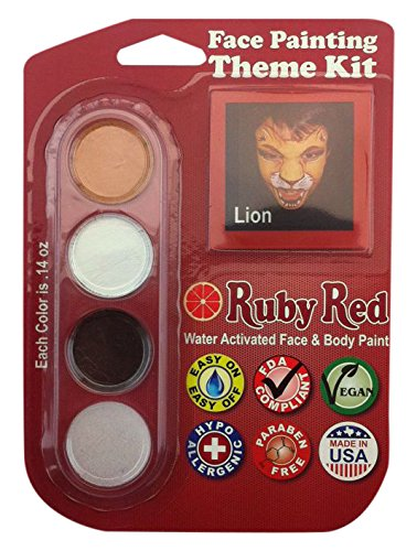 Ruby Red Paint, Inc. Face Paint, 2ML X 3 Colors - Lion