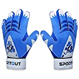 Sportout Kids Junior Goalkeeper Gloves, Soccer Gloves with Double Wrist Protection and Non-Slip Wear Resistant Latex Material to Give Splendid Protection to Prevent Injuries (Blue2, 6)