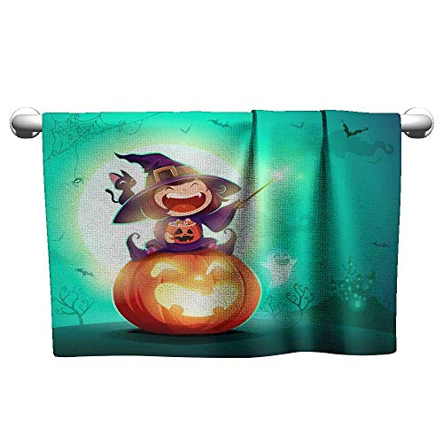 Suchashome Microfiber Hair Towel Halloween Little Witch Girl