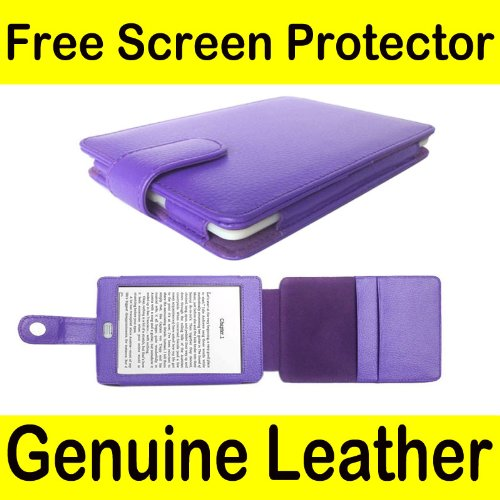 Genuine Leather Kindle Jacket - Mochie (tm) Genuine Leather Pouch Case Cover Jacket for Amazon Kindle Touch (Notepad style) Purple