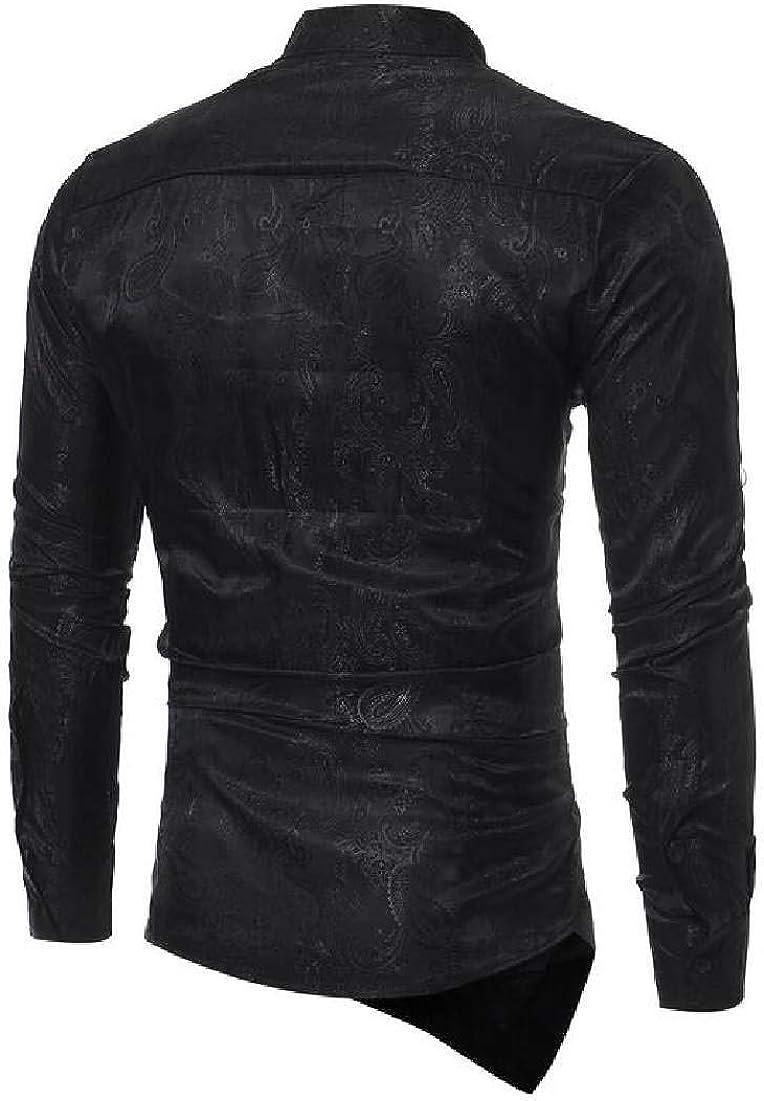 Domple Mens Casual Irregular Paisley Print Button Down Long Sleeve Dress Shirts