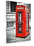 Classic red British telephone box in London - 23,62' x 35,43' inch (60x90 cm) - Textile canvas print - wall art - artists, paintings, photo, picture on canvas - City Trip