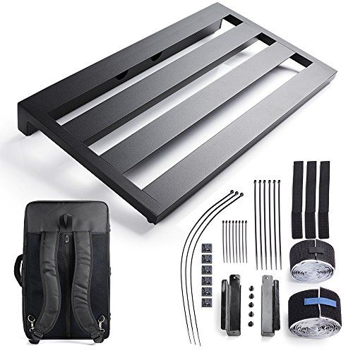 Vangoa Ghost Fire Aluminum Guitar Pedal Board 22 x 12.6 x 2.36 with Carry Bag and Power Supply Mounting Brackets