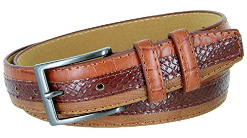 Genuine Leather Belt with Alligator, Lizard and Snake Skin Embossing (Brown, 42)