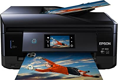 Epson Expression Photo XP-860 All-in-One Inkjet Printer, 9.5/9 ISO ppm Black/Color, 5760x1440 dpi, 100 Sheet Input Tray, USB/Wi-Fi - Print, Copy, Scan, Fax