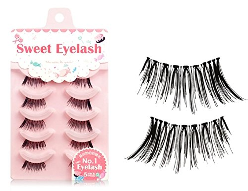 5 Pairs Handmade Natural Soft Eye End Thick False Eyelashes Fake Eye Lashes Makeup Half Corner Lashes
