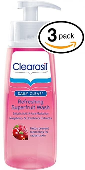 3 Pack Clearasil Daily Clear Refreshing SuperFruit Wash 6.7 Oz Each M. Asam VINO GOLD Power Ampoule Beauty Treatment ~ 14-count