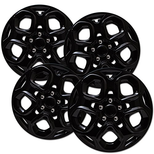 Hubcaps for 17 inch Standard Steel Wheels (Pack of 4) Wheel Covers - Snap On, Ice Black