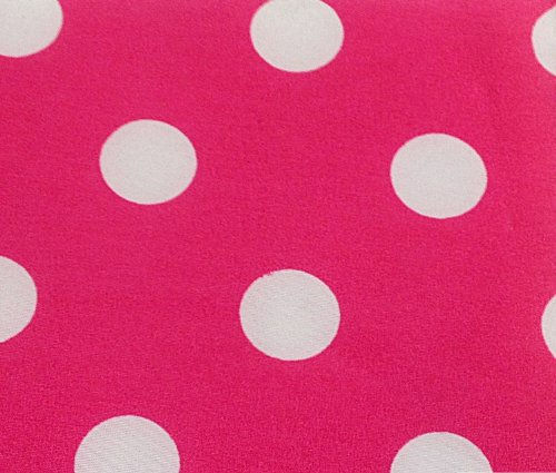 3/4th Inch Polka Dot Poly Cotton White Dot on Hot Pink 60 Inch Fabric by the Yard - Fabric Dot White Pink Polka