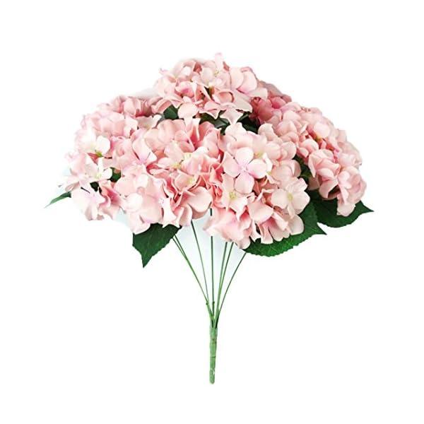 Allywit Artificial HydrangeaSilk Fake 7 Heads Flower Bunch Bouquet Home Hotel Wedding Party Garden Floral Decor (Pink)