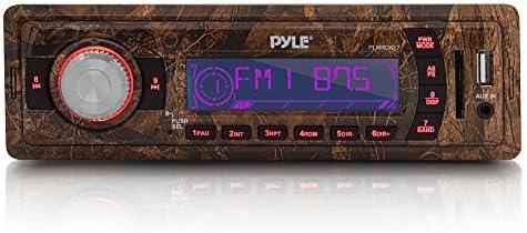 カモフラージュ ステレオ マリンヘデュニット レシーバー - 12V カモフラージュスタイル シングルDIN デジタルボート ダッシュラジオシステム Aux入力、MP3、USBフラッシュ、SDカードリーダー付き - 電源&配線ハーネス付属 - Pyle PLMRDK17