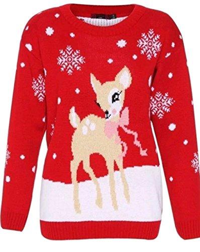 Rudolph Navidad Bambi Unisex Knit Hombres 1klickglobal Deer Rojo Mujeres Pullover Reindeer gSAwSxZq