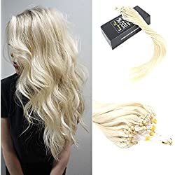 Sunny 16 Inch Micro Loop Extensions Human Hair 50Strands White Blonde 60# Slik Straight Cold Fusion Remy Loop Hair Extensions 50g per pack