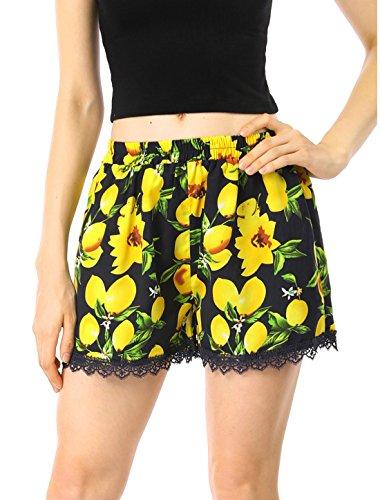 Allegra K Women's Lemon Print Lace Trim Elastic Waist Shorts M (Lemon Lace)