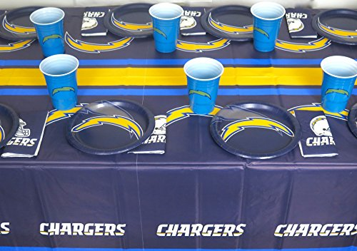 Los Angeles Chargers 4th of July Barbecue Plates, Napkins, Jumbo Cups and a Tablecloth 49 Pieces Set. ()