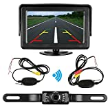 Emmako Rear View Camera wireless and Monitor Kit 9V-24V backup camera system with IR Night Vision Waterproof 4.3 Display Guild lines for Car/ Vehicle/truck/pickup/Van