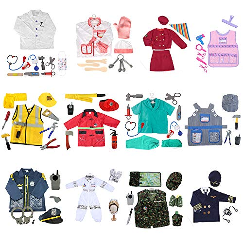 (TOPTIE 12 Sets Vocation Role Play Costumes for Kids Dress Up Pretend Play for Halloween)