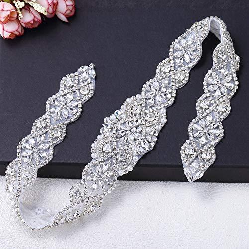 Bling Rhinestone Applique, FANGZHIDI Silver Floral Diamond Trim for Sew on Iron on Prom Wedding Dress, Bridal Belt Sash, Wedding Cake Decoration, Flower Girl Basket ()
